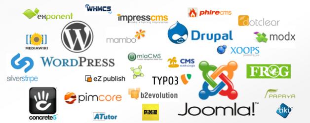 The logos of various CMS's.