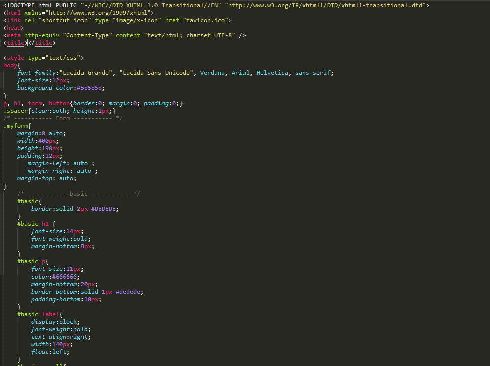 An example of CSS code.